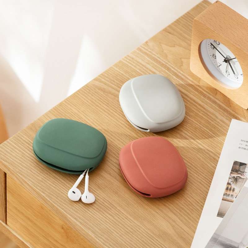 Silicone Storage Box Cute coin purse Headphone Storage Box Portable Data Cable Simple Mobile Phone Data Cable Organizing Bag