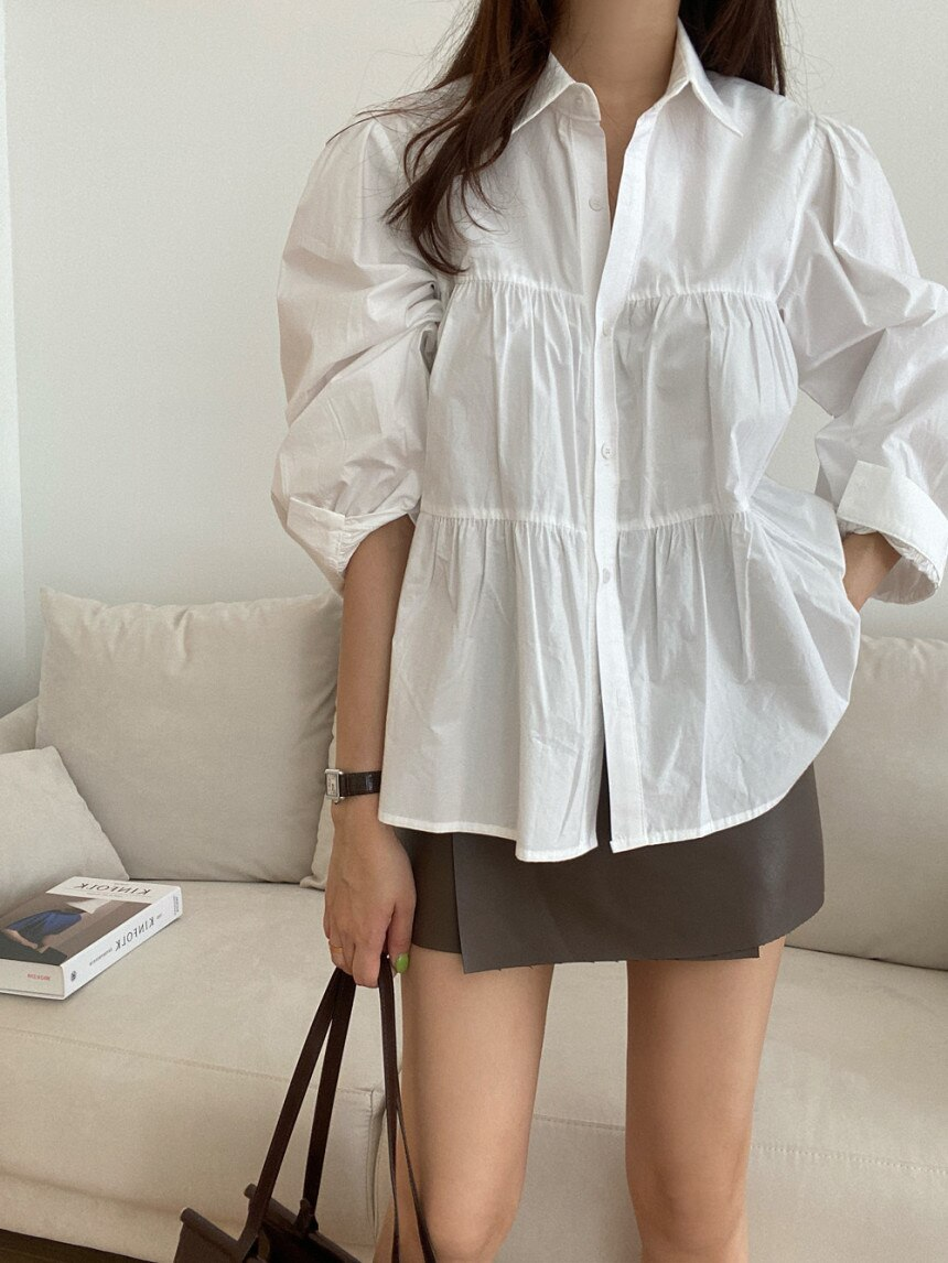 Korean Chic New Sweet Western Style Loose Pleated Sense Stitching Puff Sleeve All-Matching Youthful-