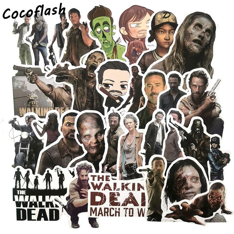 Pegatinas de dibujos animados de Horror StickerThe Walking Dead de 50 Uds., serie de TV para equipaje de coche, portátil, Notebook, pegatina para nevera