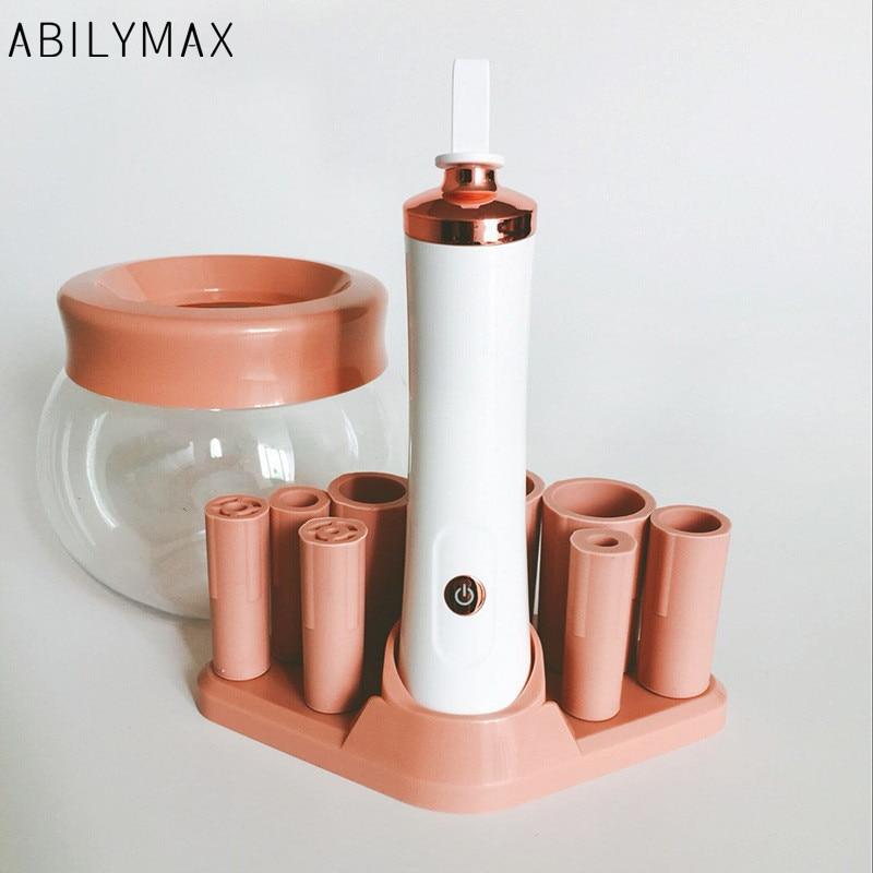 Abilymax escova de maquiagem elétrica mais limpa e máquina secador rosa girador escova automática com 8 coleiras de borracha tamanho