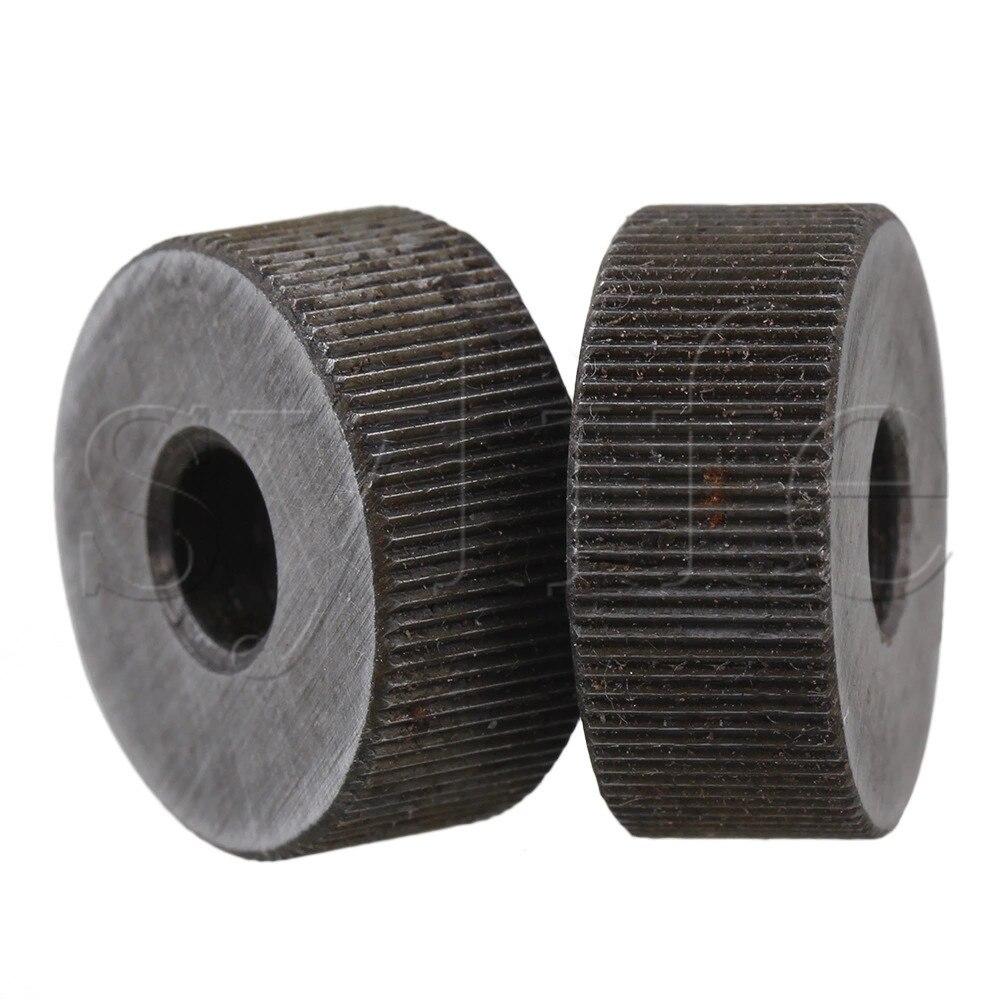 2 pces 19x8mm única reta serrilhagem ferramenta 0.6mm passo linear roda knurl