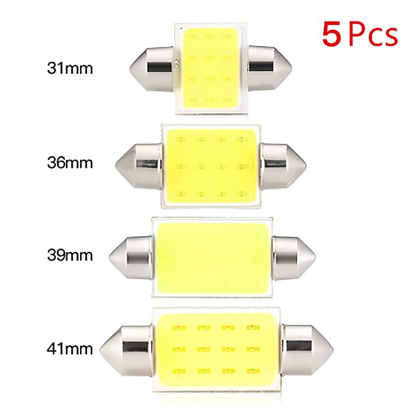 5 uds. De bombillas C10W C5W LED COB de 31mm 36mm 39mm 41mm bombillas blancas para coches, luz de lectura Interior de matrícula 6500K 31-41mm, luz para coche