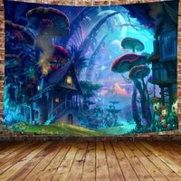 simsant psychedelic mushroom forest fairy tale forest tapestry wild animals poster mural for room dorm