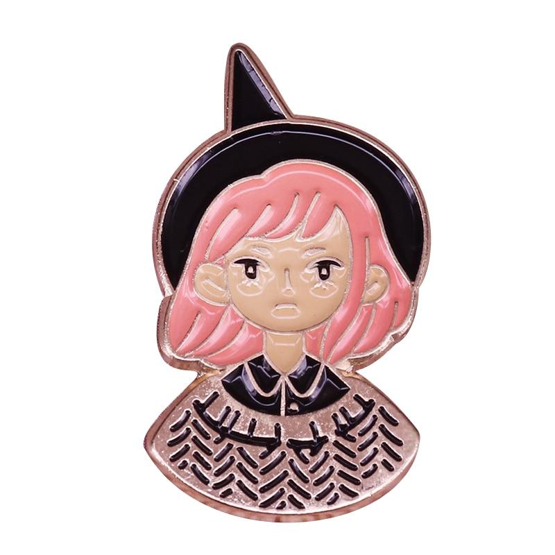 Bruja chica solapa pin lindo magia insignia Halloween joya brujería niños amigos regalo
