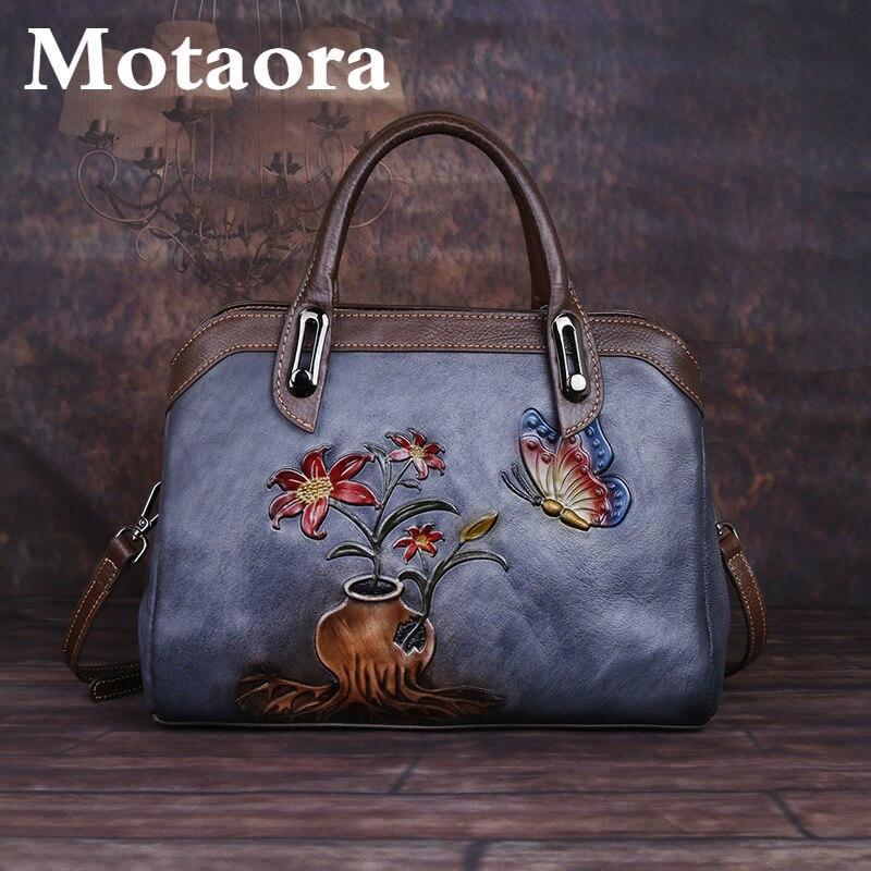 Винтажная женская сумка MOTAORA из натуральной кожи, ретро сумки для женщин ручной работы, тисненые сумки на плечо в китайском стиле, женские бо...