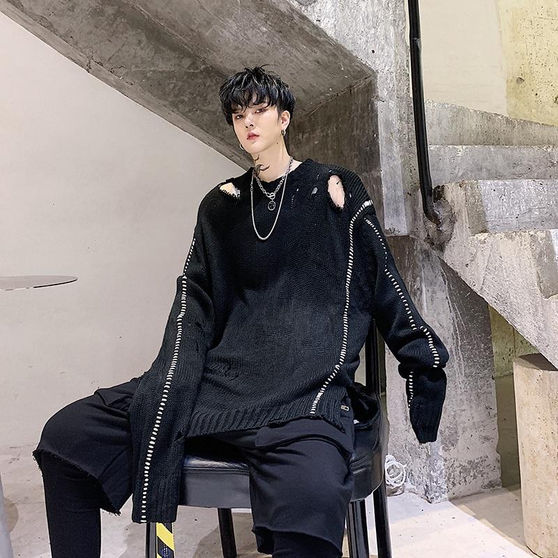 YASUGUOJI, новинка 2019, осенний свитер с дырками в стиле панк, мужской модный свободный свитер большого размера, мужской черный вязаный пуловер, с...