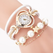 Hot Sale Women Bracelet Watches With Pearl Pendant  Luxury Ladies Leather Quartz Rhinestone Wristwatches Clock Zegarek Damski