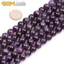 Gemme-inside 6-16mm perles de pierre naturelle mélange rond perles daméthyste pourpre pour la fabrication de bijoux perles 15 bricolage perles bijoux