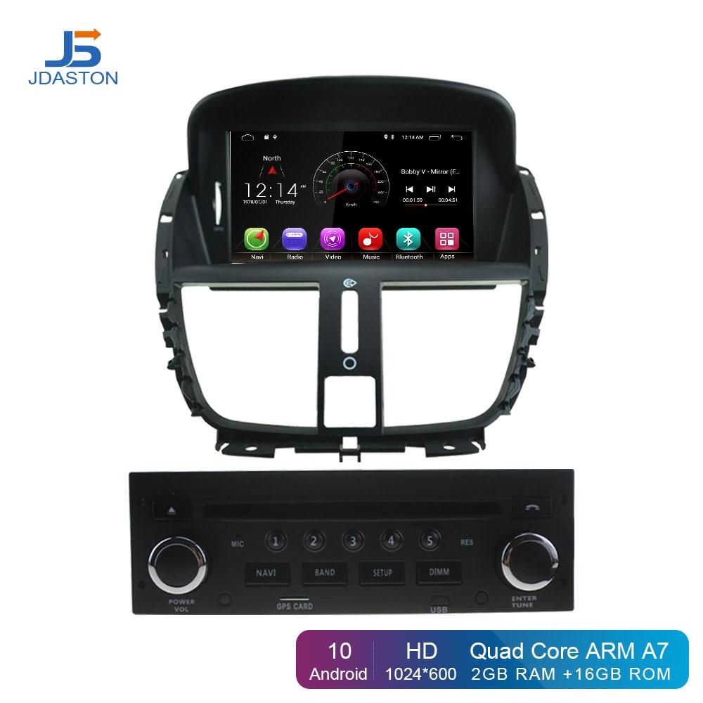 Reproductor de DVD para coche JDASTON Android 10,0, para Peugeot 207, vídeo Multimedia, WIFI, navegación GPS, 1 Din, Radio de coche, volante ESTÉREO