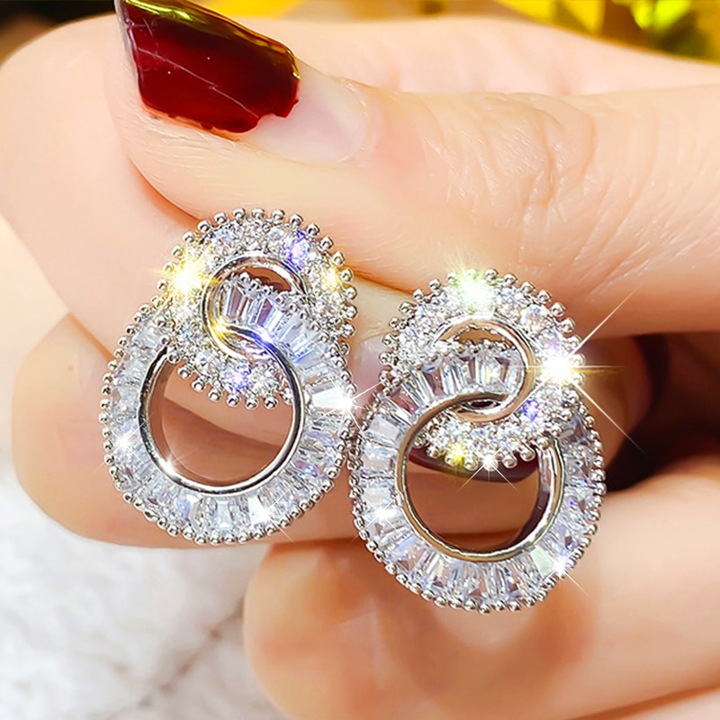 Wholesale Luxury CZ Zircon Fashion Crystal Double Round shape Earrings Contracted Ear Studs For Wome