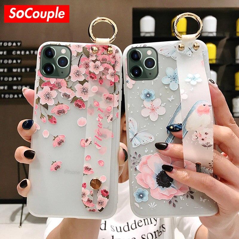 Socouple flor tpu macio pulseira de pulso caso para iphone 7 8 6s plus 11 pro max x xs max xr se alívio floral caso suporte do telefone