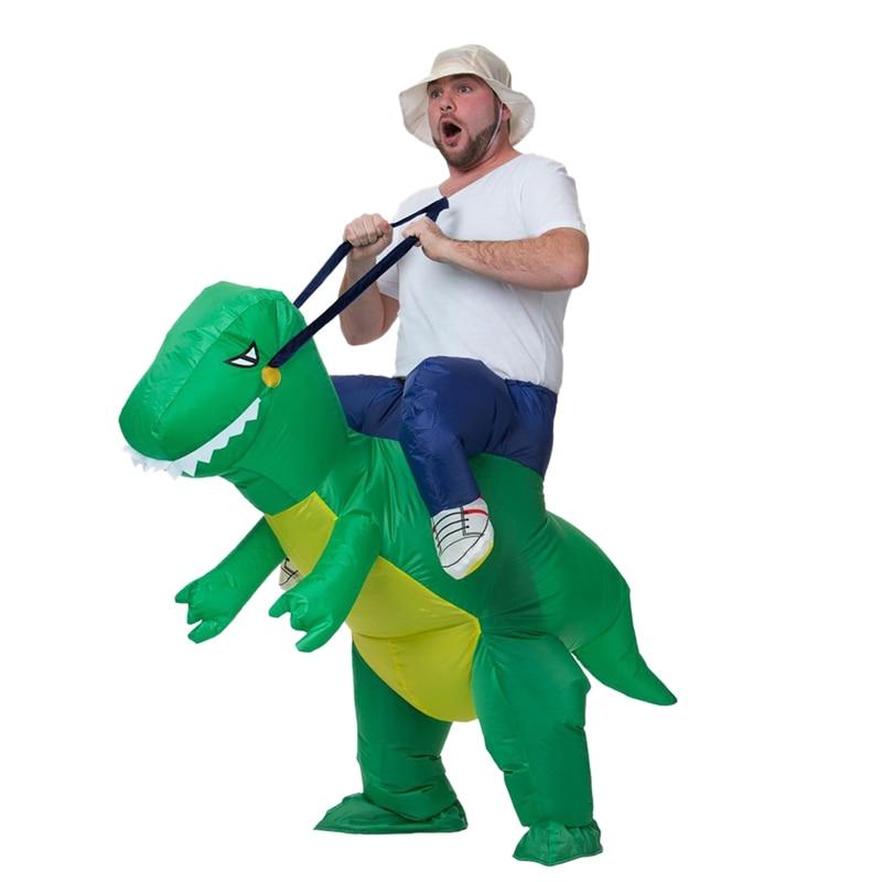 زي ديناصور قابل للنفخ للبالغين ، زي الهالوين للرجال والنساء ، فستان حفلات مضحك تي ريكس ، عرض تلفزيوني