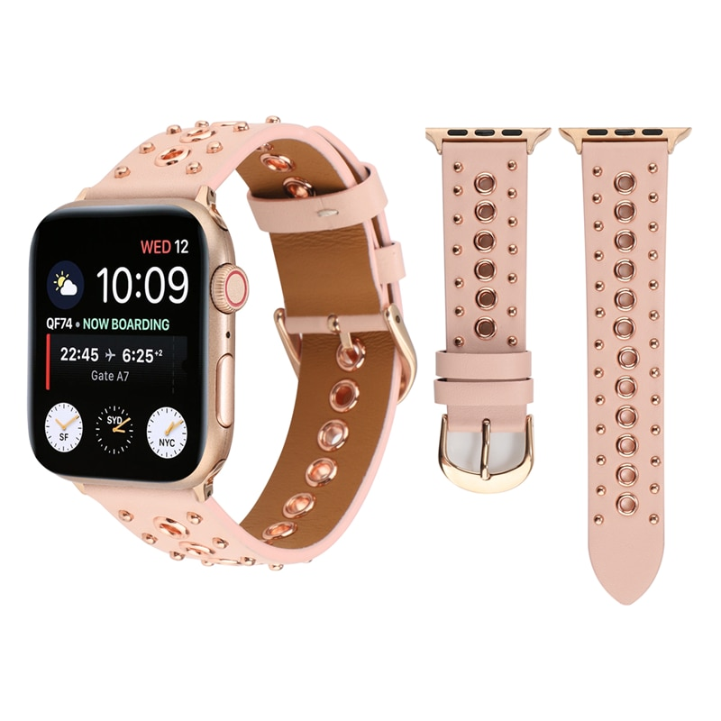Punk Belt Strap For Apple Watch Band 5 4 40mm 44mm Leather bracelet For Iwatch Bands series 3 2 38mm 42mm Watchband Accessories