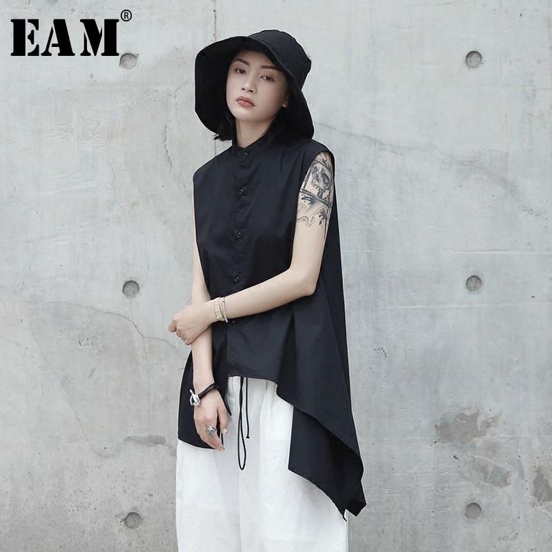 [EAM] blusa negra asimétrica dobladillo solapa nueva camisa holgada sin mangas moda Primavera otoño 2020 JL4530