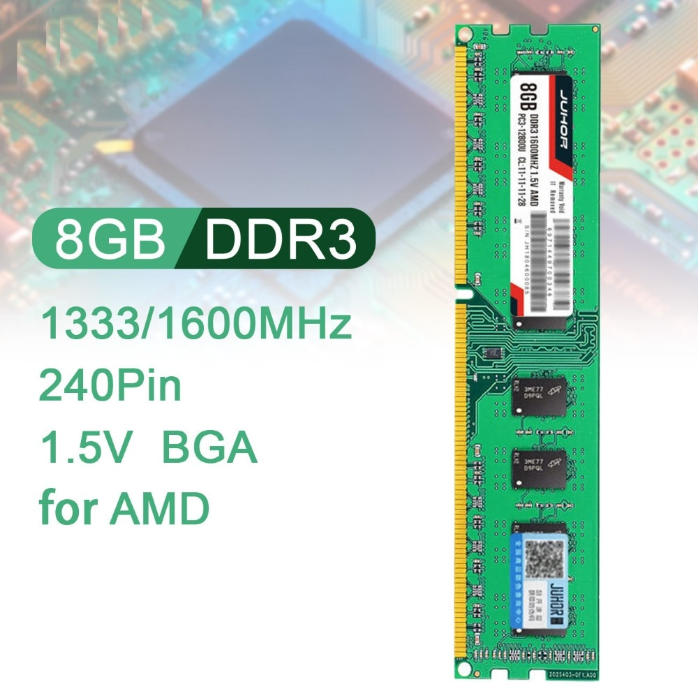 JUHOR 8G Memory DDR3 1333/1600MHz 240Pin 1.5V ذاكرة رام للكمبيوتر عالية السرعة قراءة/كتابة بلا ضوضاء ذاكرة عشوائيّة للحاسوب المكتبي لـ AMD