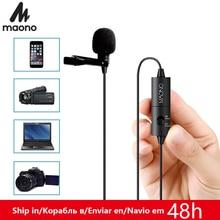 MAONO Lavalier Microphone 6M Clip-on Collar Condenser Microphone Handsfree Lapel Mic for Smartphone Canon DSLR Camera PC Laptop