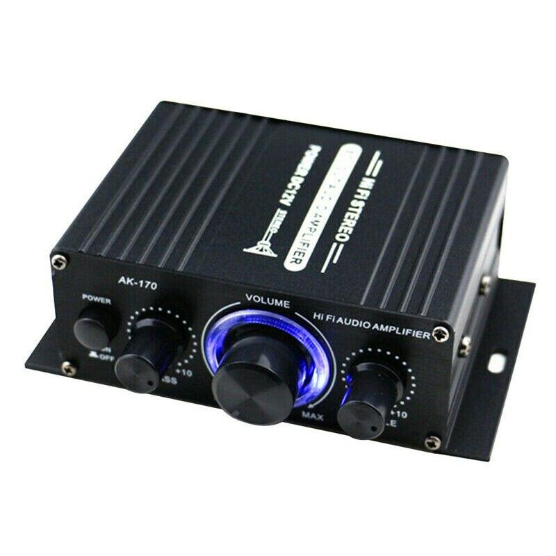 Miniamplificador de potencia de Audio con luces LED, Amplificador de Subwoofer, FM,...