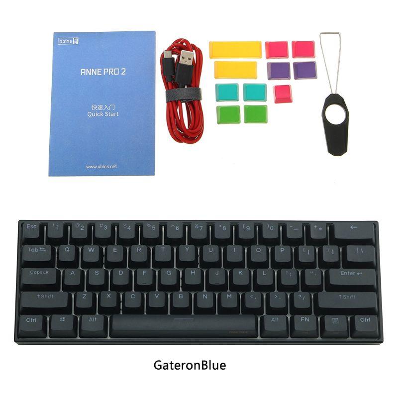 Anne Pro 2 60% NKRO Bluetooth 4.0 Type-C RGB 61 Keys Mechanical Gaming Keyboard Cherry Switch Gateron Switch