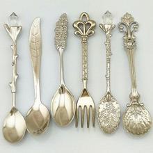 Cuillères + fourchette Vintage de fleur de grenade   Ensemble de 6 pièces/ensemble cuillères de Style européen Royal Antique, café sculpté boule à thé, couverts de table #63