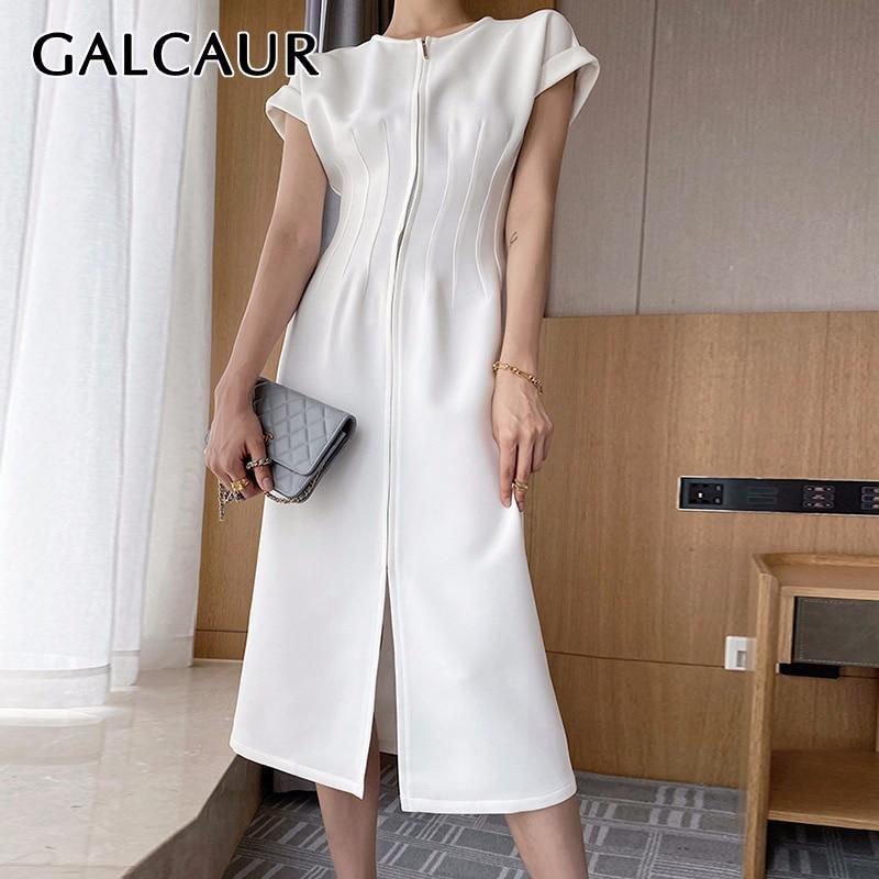 GALCAUR Slim vestido de las mujeres de cuello en O manga corta túnica de cintura alta dividir Midi verano vestidos de las mujeres, el 2020 coreano Chic estilo nuevo