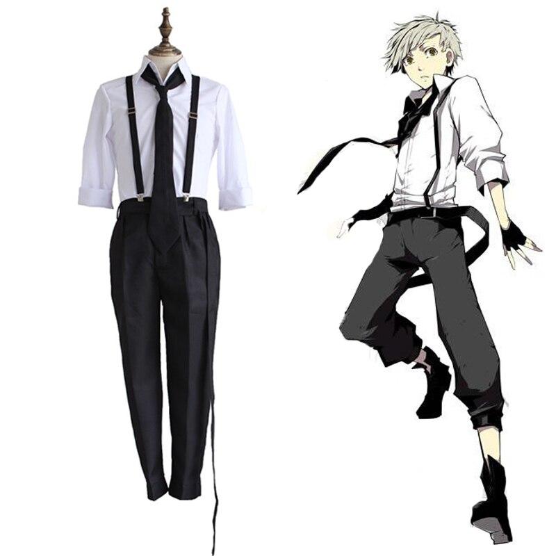Anime bungo stray Dog atsushi nakajima cosplay disfraces pelucas para fiesta de halloween Camisas Pantalones tie guantes set anime ropa