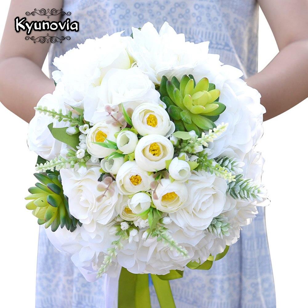 كيونوفيا الأخضر النباتات العصارية الاصطناعية باقة الزفاف الأبيض وردة من الحرير Boueuqt أنيقة العروس زهرة باقة GC19
