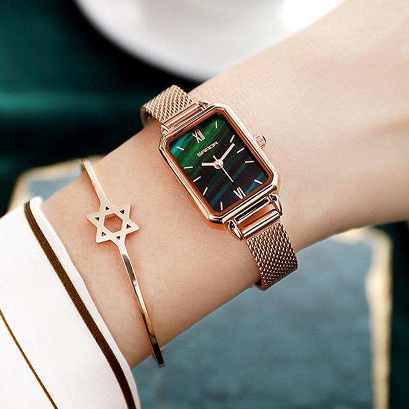 SANDA Fashion Women Watch Square Japan Quartz Ladies Quartz Wirstwatch Stainless Steel Life Waterproof Zircon Watches Gift enlarge