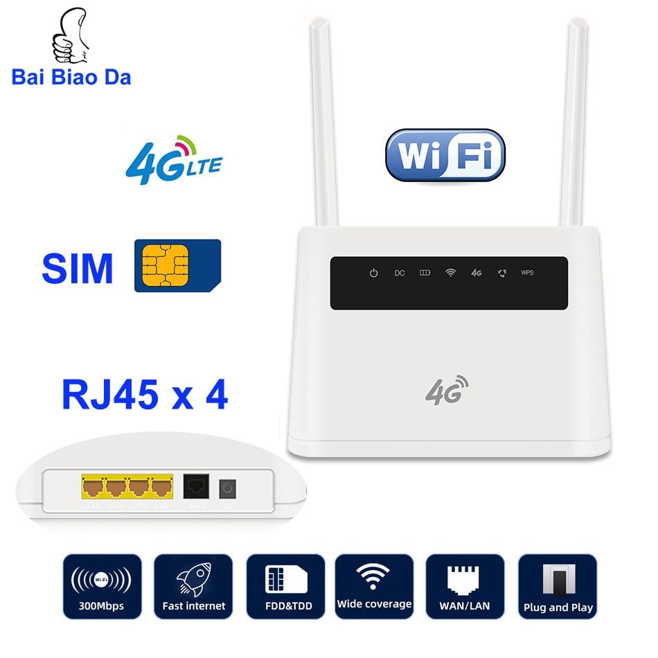 4G LTE CPE 2.4G Wifi Router Broadband Unlock 4G 3G Mobile Hotspot WAN/LAN Port Dual External Antennas Gateway With Sim Card Slot