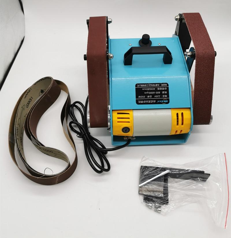 220V Desktop Dual Axis Belt Machine Multifunction Home Electric Sanding Machine Polisher Sharpening Tool Grinder 950W