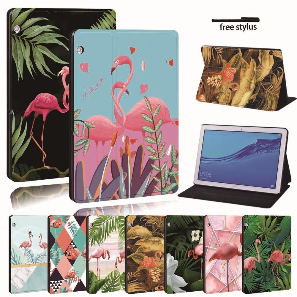 Para huawei mediapad t3 8.0/t3 10 9.6/t5 10 couro tablet estande folio capa-flamingo tablet estande caso para honor play pad
