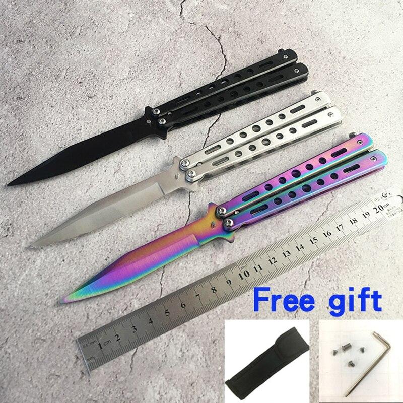 Acier inoxydable CS GO couteau dentraînement couteau titane papillon en couteau pour cadeau + sac + tournevis + boulons épargnés