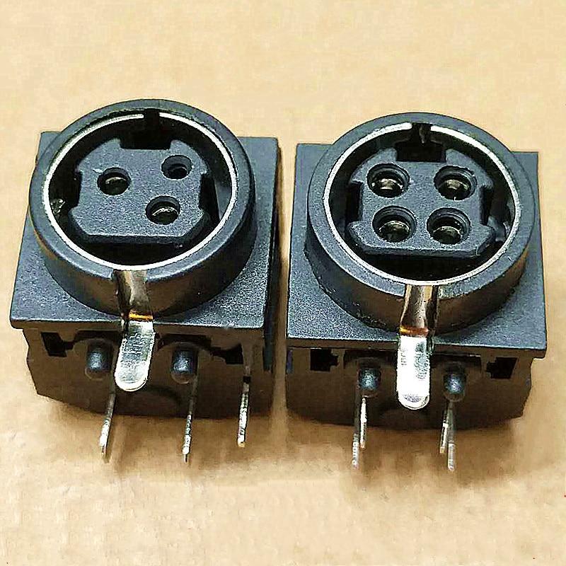 10pcs DIN 3 core / 4P horizontal socket S terminal MPC power terminal PS2 full plastic socket 3/4 core connector