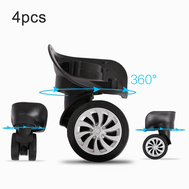 4 unids/set EQUIPAJE DE REPUESTO maleta ruedas giratorias rueda Universal ruedas de doble rodillo negro plástico