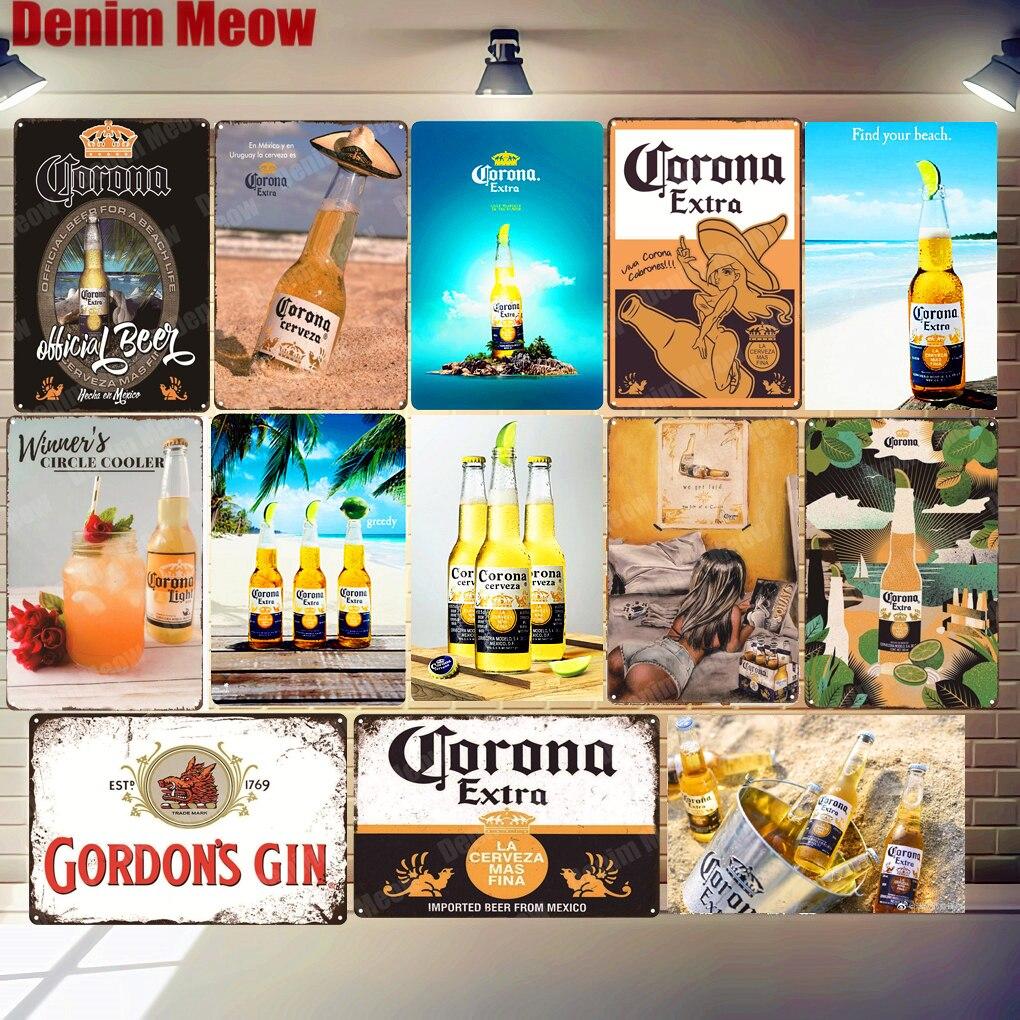 Corona cerveza Extra placa de Metal estaño signo absolut tiempo Miller pared...