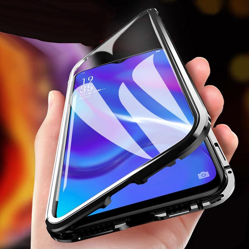 Adsorção magnética caso para huawei p smart z pro 2019 capa do telefone caso ímã de vidro temperado para y9 prime 2019 capa