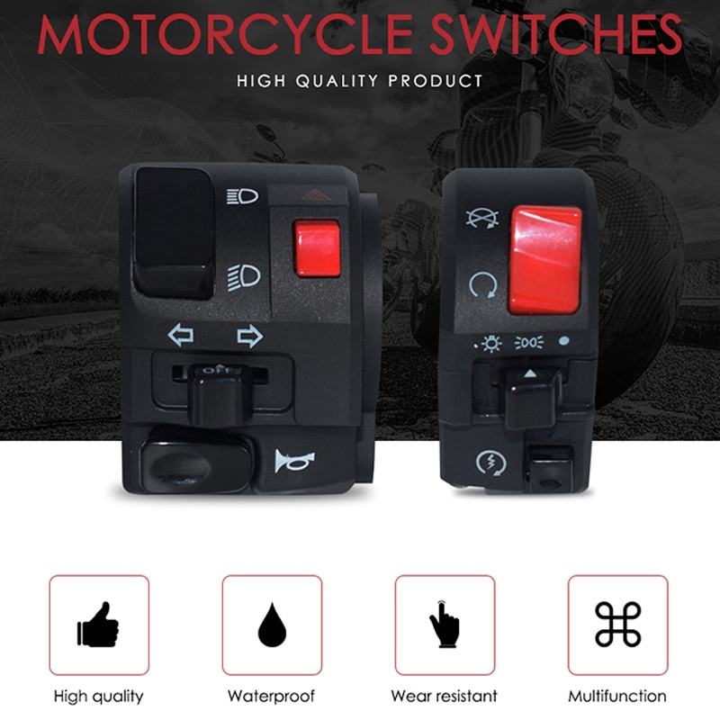 7/8 pulgadas 22Mm interruptores de motocicleta claxon de moto Botón de señal de Giro eléctrico antiniebla Luz de arranque interruptor del controlador del manillar
