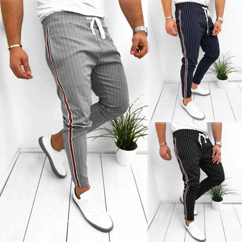 Es Los hombres Slim Jogger deportivo gimnasio culturismo pista Pantalones de chándal a rayas pantalones largos Casuales