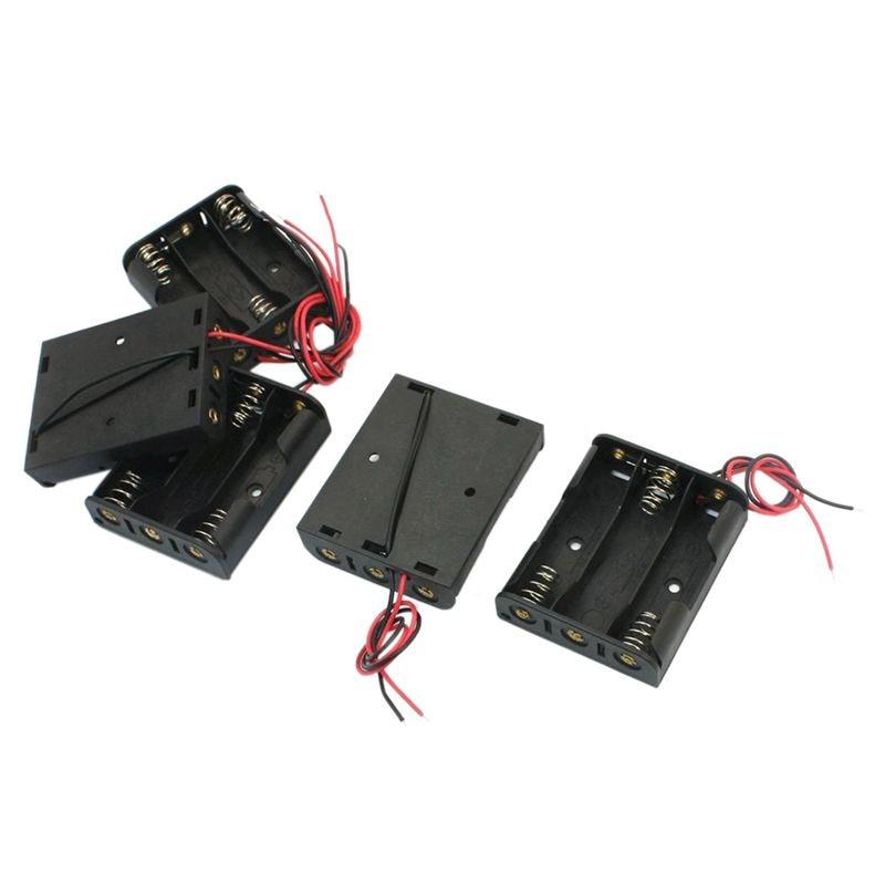 5 piezas de plástico con resorte 3x1,5 V AA batería soporte caja negra