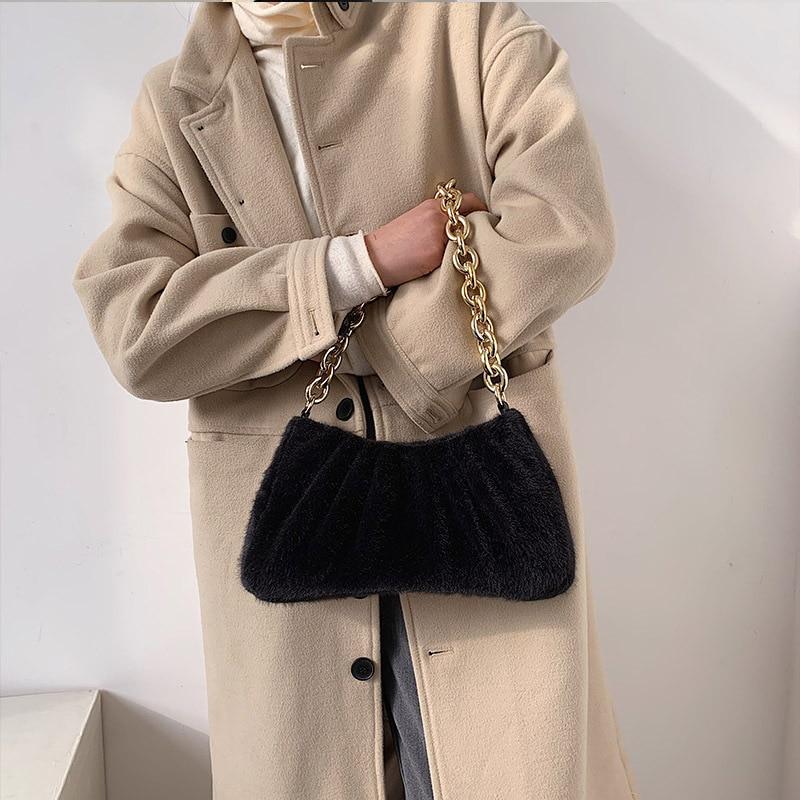 Women's Cloud Bag One Shoulder Wallet Winter Plush Messenger Bag Women's Handbag and Purse Luxury Day Clutch Hobo Bag Hand Bag