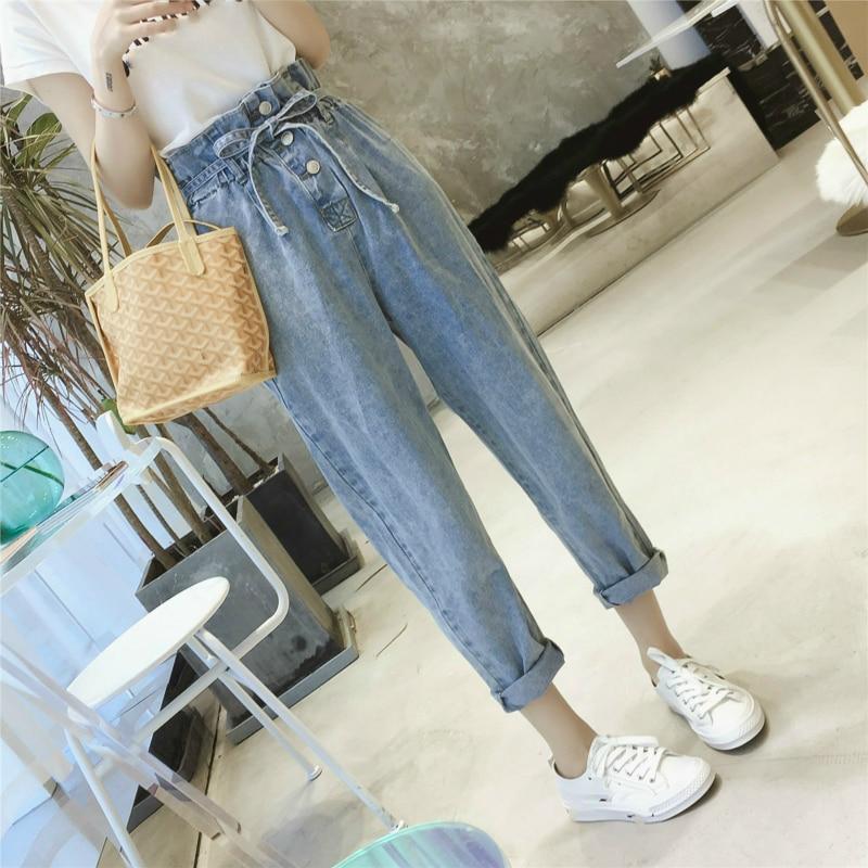 Summer Autumn Women Washed High Waist Casual Denim Pants Loose Straight Boyfriend Jeans For Woman Jean Plus Size 5XL