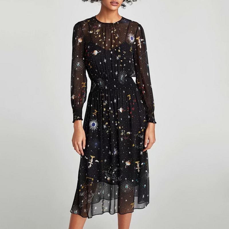 Frauen Kleid Frühling 2020 Neue Mode Stilvolle Drucke Long Sleeve Schwarz Futter Kleid Innen Moderne Dame Kleider