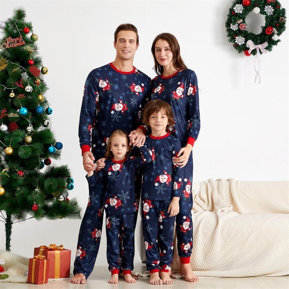 Christmas Family Matching Gray Color Parent-children Pajamas Set   Santa Claus Print Tops Elastic Pa
