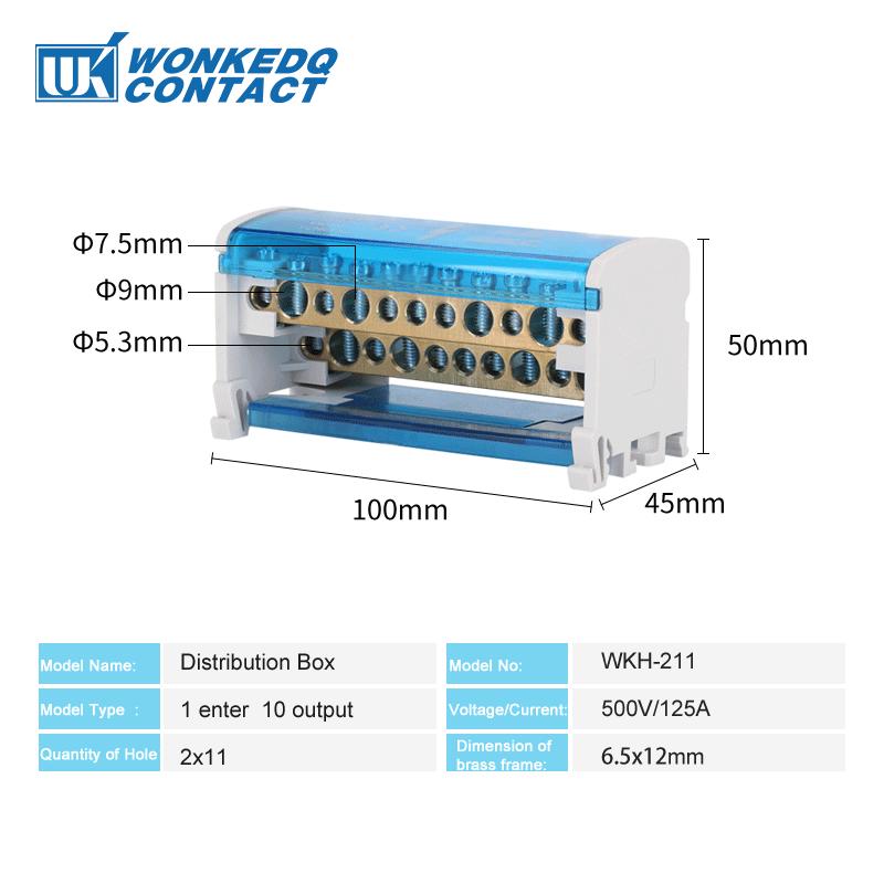 WKH211 Din Rail Terminal Blocks Modular Screw Connection Power Distribution Block Box Universal Electric Wire Junction Box