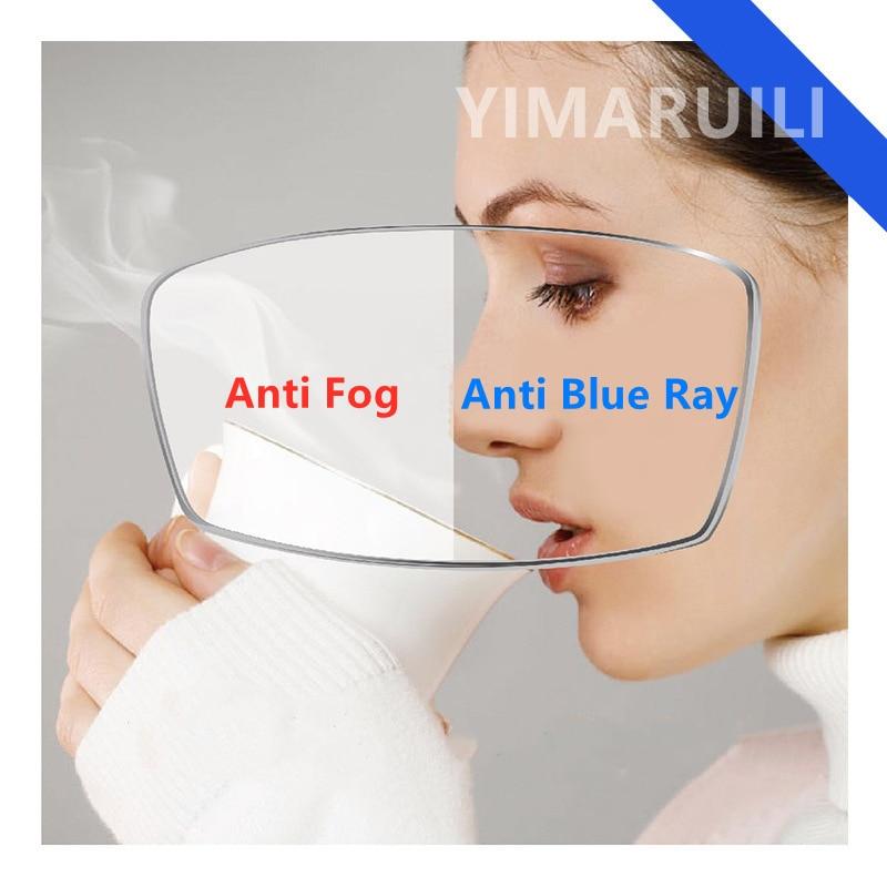 Yimaromili 1.56/1.61/1.67/1.74 مكافحة الضباب ومكافحة عدسات زرقاء اللون CR-39 الراتنج عدسة بصرية SPH 0 ~-1000 CYL 0 ~-200 HD عدسة 1 Pair