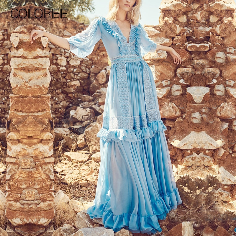 Vintage Ruffles Blue Lace Patchwork Pleated Long Dress Women 2020 Runway Designer V-neck Chiffon Maxi Dress