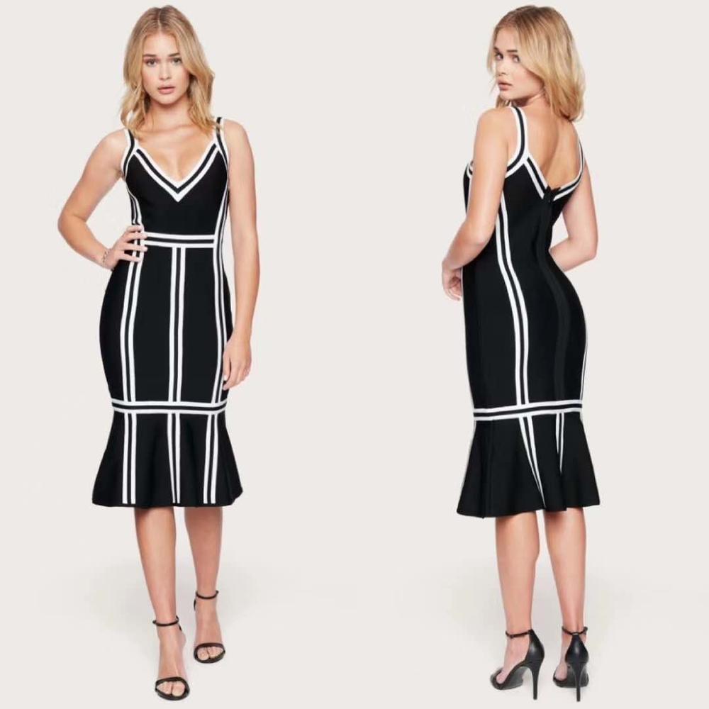 Celebridad vendaje vestido elegante blanco y negro con cuello en V de cola de pescado Midi vestido vendaje mujer Sexy Club nocturno fiesta vestido Vintage Vestio