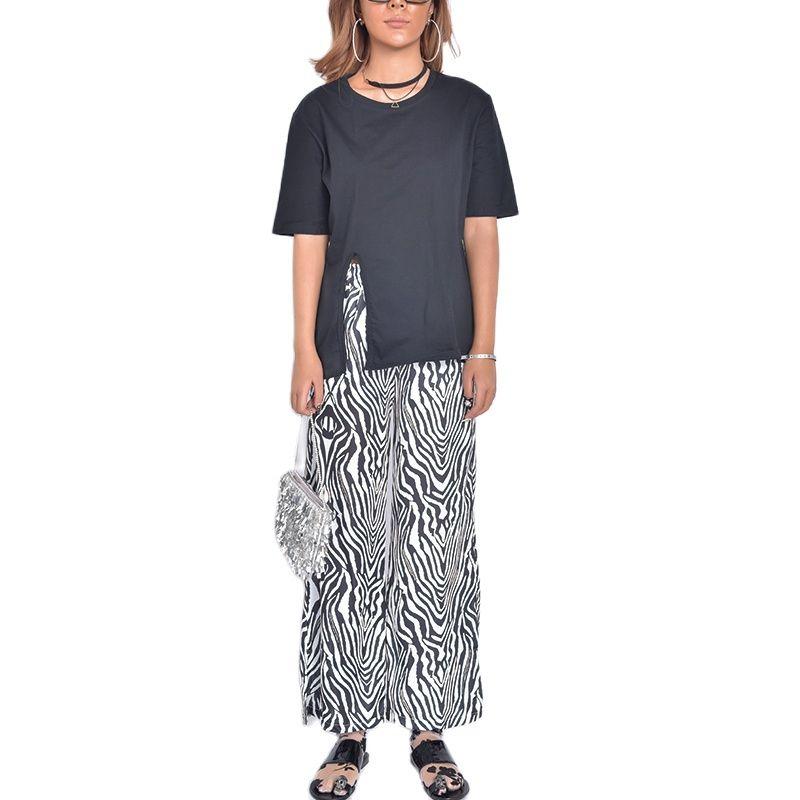 Pantalones de chándal a rayas de cebra para mujer, conjuntos de pantalones...