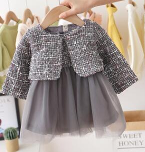 Kids Baby Girls Fashion 2-piece Outfit Set Sleeveless Dress and Long Sleeve Coat Set