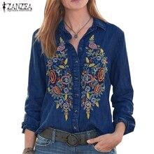 ZANZEA femmes Vintage brodé boutons vers le bas chemises automne à manches longues Denim Blouse décontracté revers cou Top travail Blusas