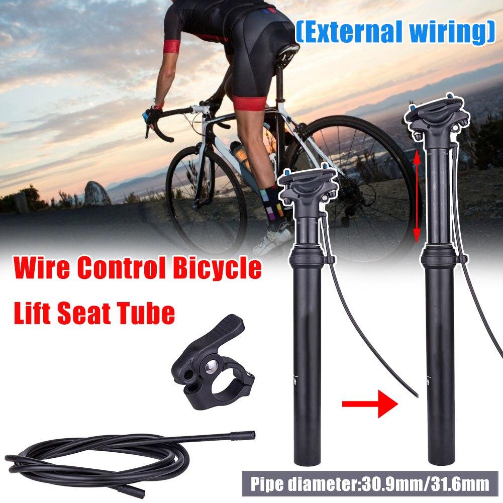 Linha running externo fio de controle pressão óleo ar da bicicleta tubo assento elevador 31.6/30.9mm tubo do assento fora roteamento